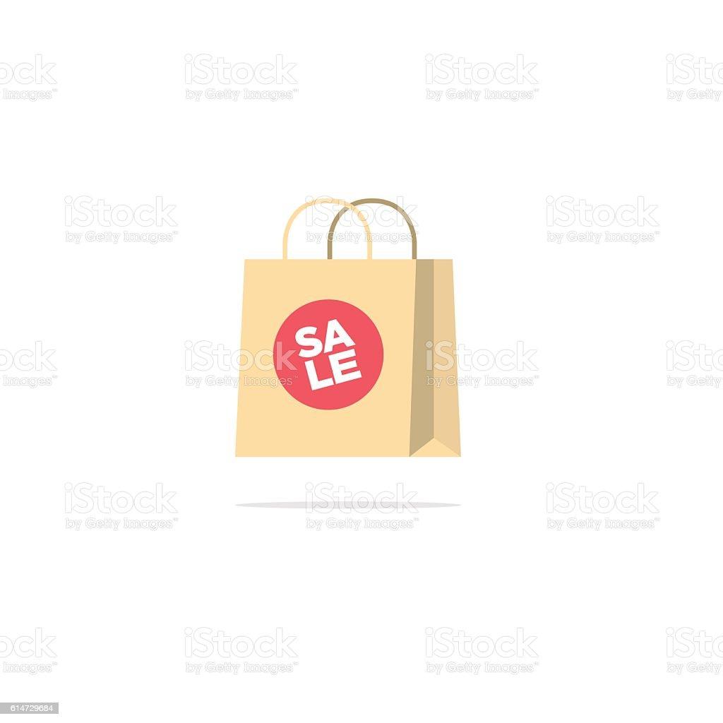 Flat style sale shopping bag vector art illustration