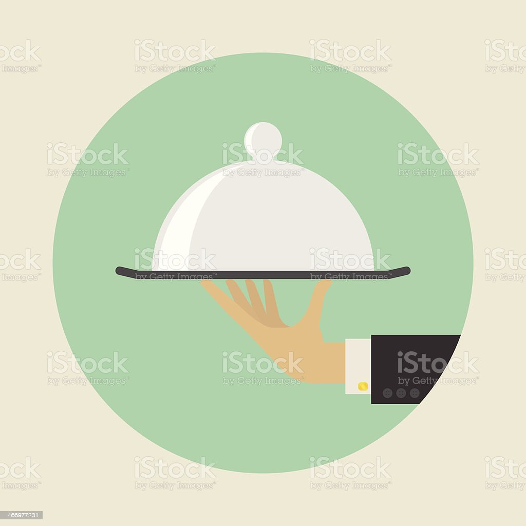 Flat style service concept with a butler hand holding tray vector art illustration