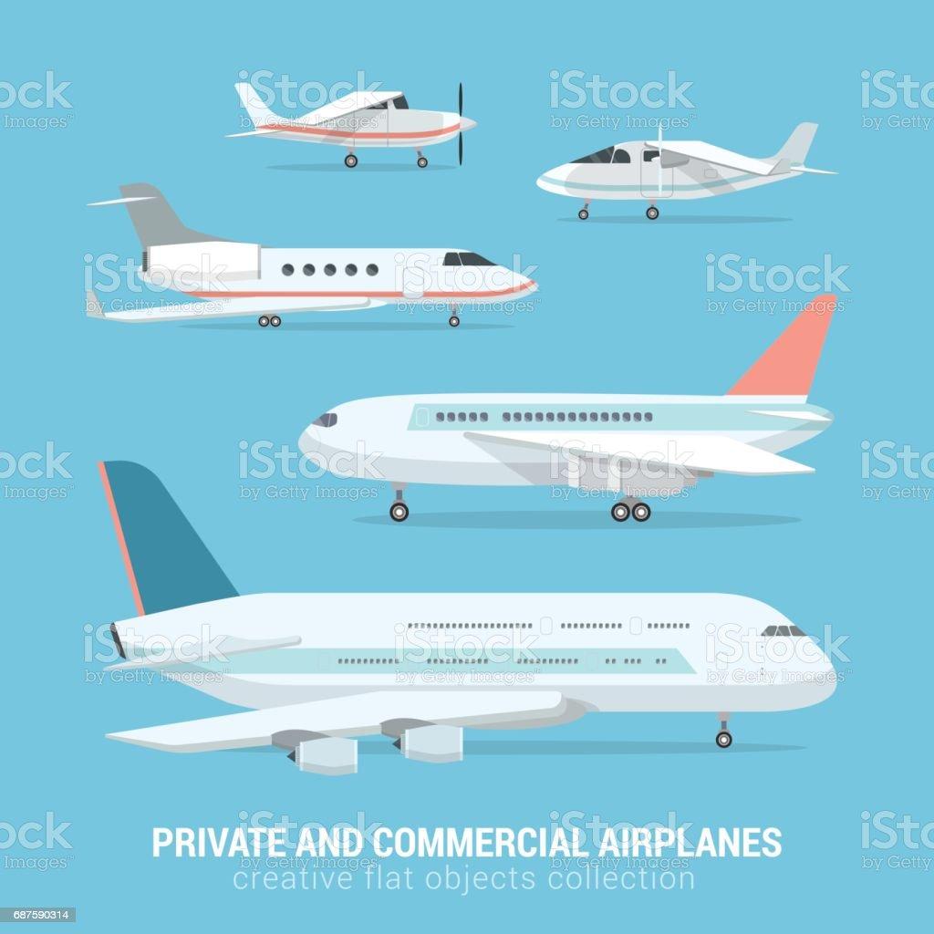 Ilustración de Conjunto De Estilo Plano De Aviones Comerciales Y ...