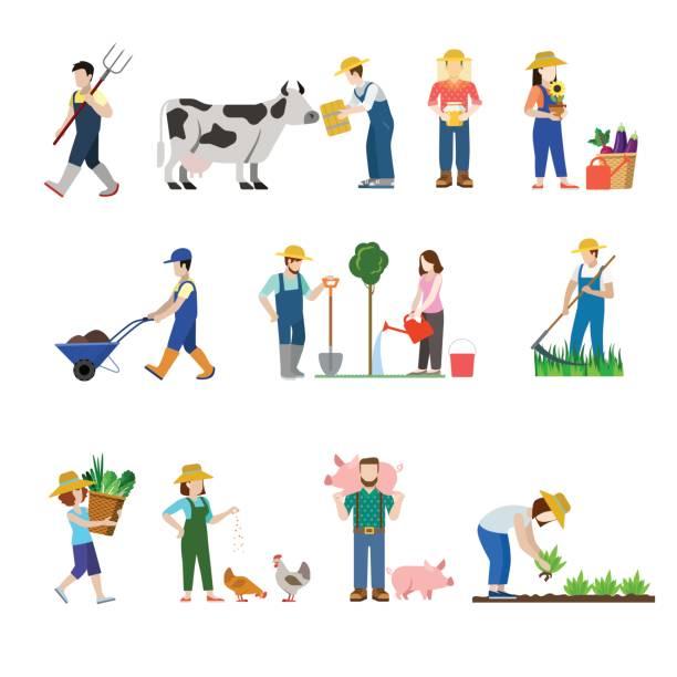 ファームの職業労働者人 web アイコンのフラット スタイルのセットです。農家農業 agronome 農学畜産業者 grazier 鶏豚育成収穫養蜂家。創造的な人々 のコレクションです。 - 農業従事者点のイラスト素材/クリップアート素材/マンガ素材/アイコン素材