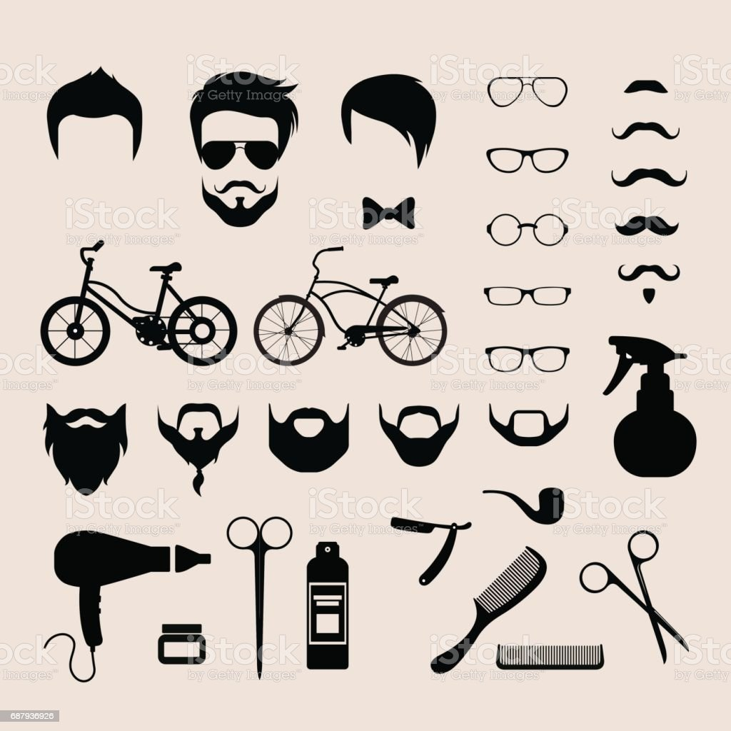 77d600ed8b3 Flat style set of male hipster haircut mustache glasses beard barber shop icons  vector illustration. Barbershop hair cut mobile app application software ...