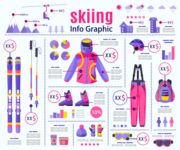 flachen stil ski, winter sport infografik, daten-präsentation-template-design - funktionsjacke stock-grafiken, -clipart, -cartoons und -symbole
