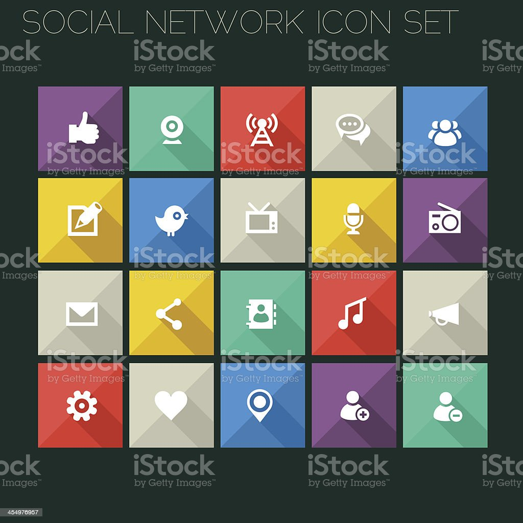 Flat style social network icons royalty-free flat style social network icons stock vector art & more images of address book