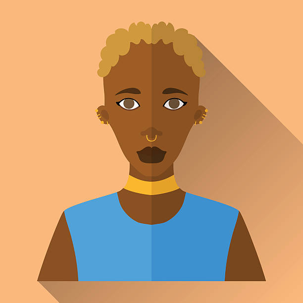 Flat style square shaped female character icon with shadow Orange flat style square shaped female character icon with shadow. Illustration of beautiful african woman with short white curly hair with septum and ear piercing wearing blue sleeveless shirt. septum stock illustrations