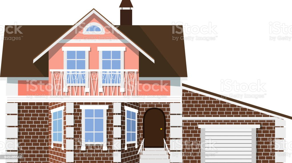 Flat Style Style Small Beautiful Twostorey House With Garage On A