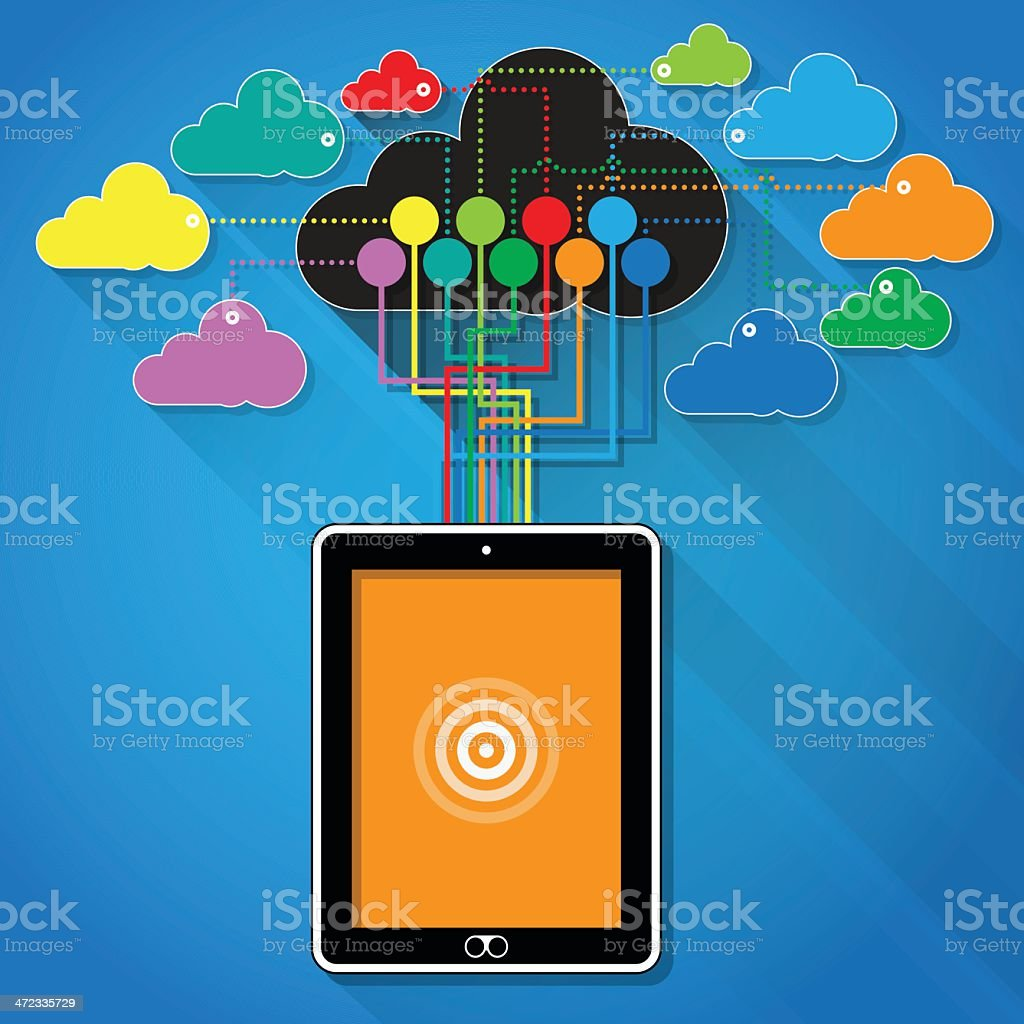 Flat Style - Tablet PC connected to the internet Cloud royalty-free stock vector art