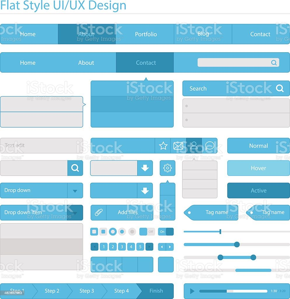 Flat style UI/UX design royalty-free flat style uiux design stock vector art & more images of application form