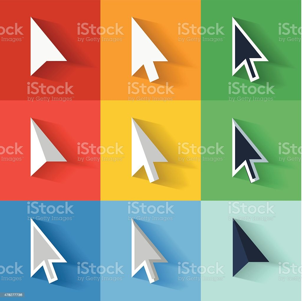 Flat style vector cursors with long shadows, on colorful background vector art illustration