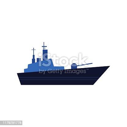 Flat style warship, battleship, armoured naval vehicle icon, vector illustration isolated on white background. Flat style vector icon of blue toy warship, battleship