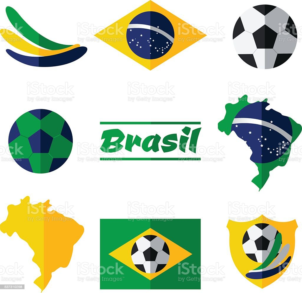 Flat style vector icon set - soccer, football Brazil vector art illustration