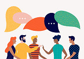 istock Flat style vector illustration, discuss social network, news, chat, dialogue speech bubbles 1014903134
