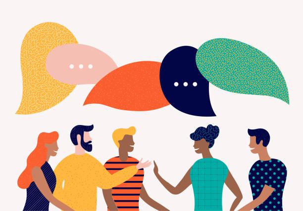 плоский стиль вектор иллюстрации, обсудить социальные сети, новости, чат, диалог речи пузыри - сообщение stock illustrations