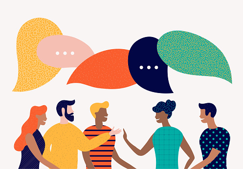 Flat Style Vector Illustration Discuss Social Network News Chat Dialogue Speech Bubbles Stock Illustration - Download Image Now