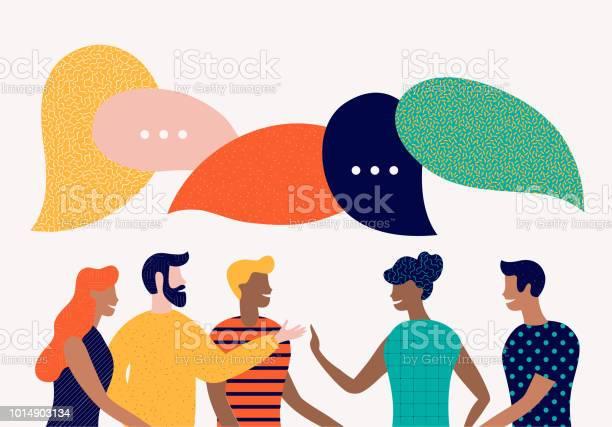 フラット スタイルのベクトル図話し合うソーシャル ネットワークニュースチャット吹き出しの対話 - お祝いのベクターアート素材や画像を多数ご用意