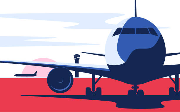Flat style vector illustration of the airliner at the airport Flat style vector illustration of the airliner at the airport. airport backgrounds stock illustrations