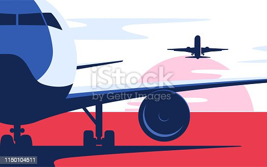 Flat style vector illustration of the airliner at the airport.