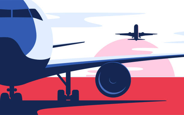 Flat style vector illustration of the airliner at the airport Flat style vector illustration of the airliner at the airport. airport designs stock illustrations