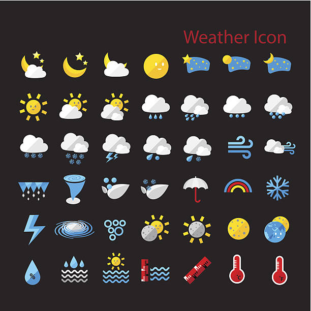 Flat style weather icon set Flat style weather icon  vector set for web design, mobile, internet ,application,  artwork, etc.. hailing a ride stock illustrations