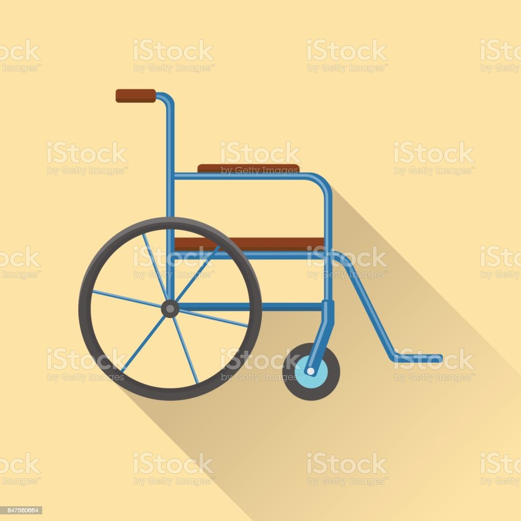 Flat style wheelchair icon vector art illustration