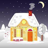 Flat style winter house. Cottage. Vector illustration. Snowfall background.  design