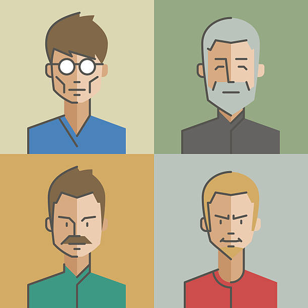 flat style with thin line icons. vector. set 03 - old man glasses silhouettes stock illustrations, clip art, cartoons, & icons