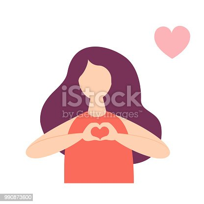 Flat style woman posing with heart shape hand sign. Romantic message concept. Flat style isolated vector image