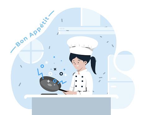 Flat style women cooking illustration on White Background. vector stock illustration