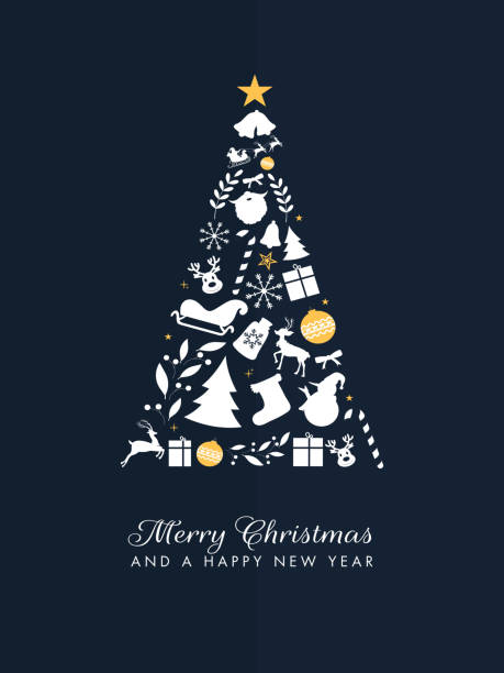 Flat style Xmas tree made by festival elements on blue background for Merry Christmas and Happy New Year celebration template design. vector art illustration