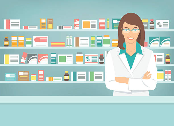 Flat style young pharmacist at pharmacy opposite shelves of medicines Modern flat vector illustration of smiling young attractive female pharmacist at the counter in a pharmacy opposite of shelves with medicines. Health care conceptual background pharmacist stock illustrations