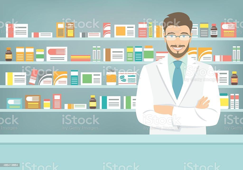 Flat style young pharmacist at pharmacy opposite shelves of medicines vector art illustration