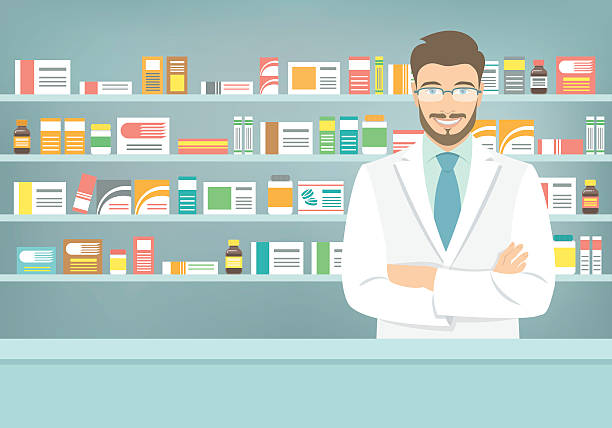 Flat style young pharmacist at pharmacy opposite shelves of medicines Modern flat vector illustration of a smiling young attractive male pharmacist at the counter in a pharmacy opposite of shelves with medicines. Health care conceptual background pharmacist stock illustrations