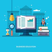 Flat stylish design for business education concept.
