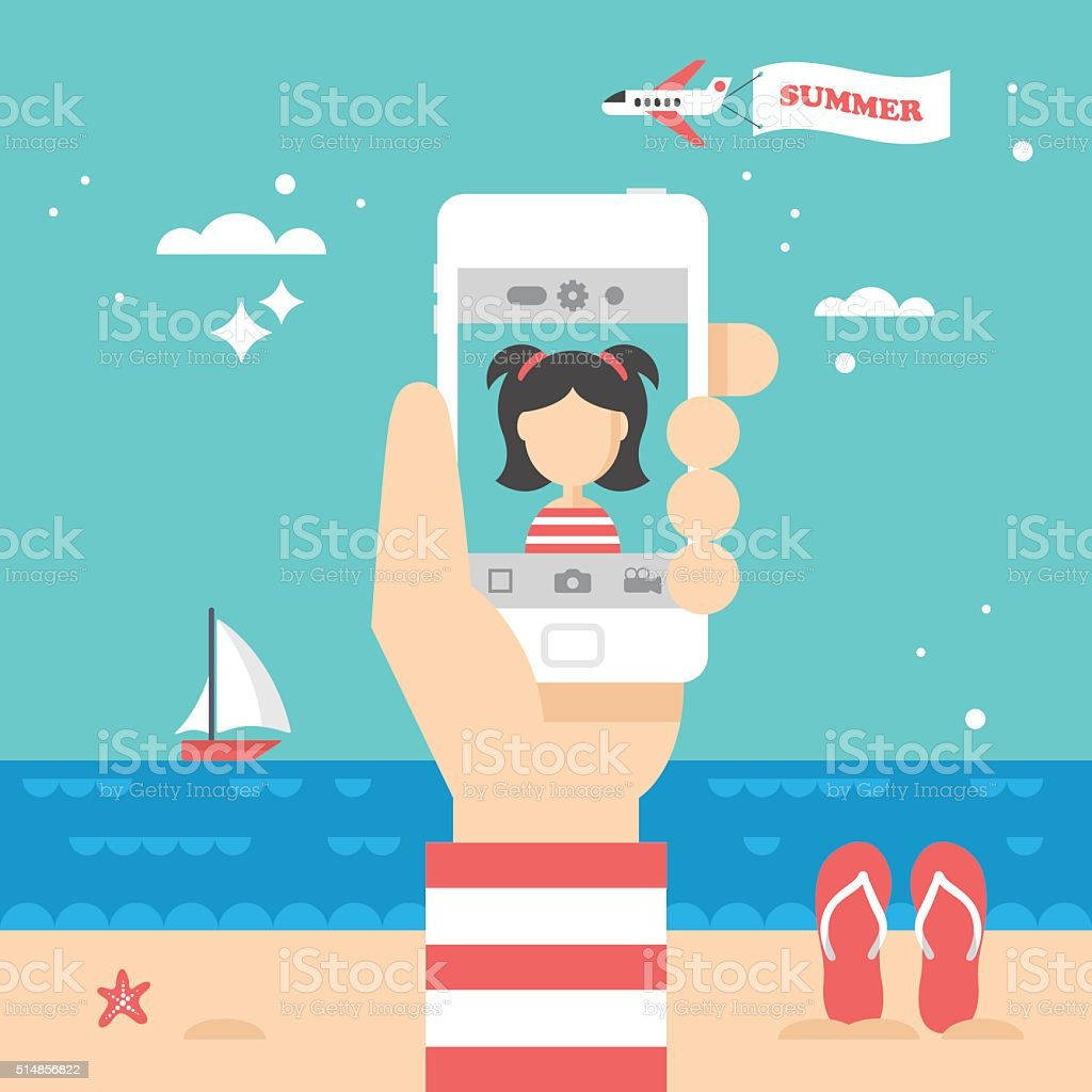 Flat stylish design for selfie photo with smart phone concept. vector art illustration