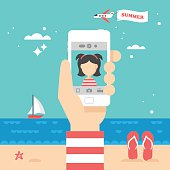 Flat stylish design for selfie photo with smart phone concept.