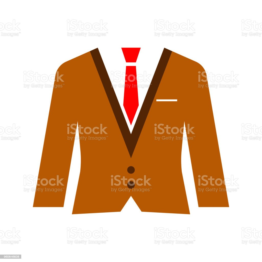 6aa84f2b4ba5 Flat suit and tie icon for web. Simple gentlemen silhouette isolated on white  background. Brown office costume. Boss well looking fashion in work style.