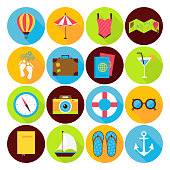 Flat Summer Holiday Icons Set