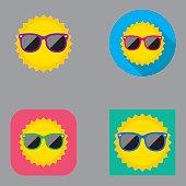 Flat icon set of summer sun wearing sunglasses.