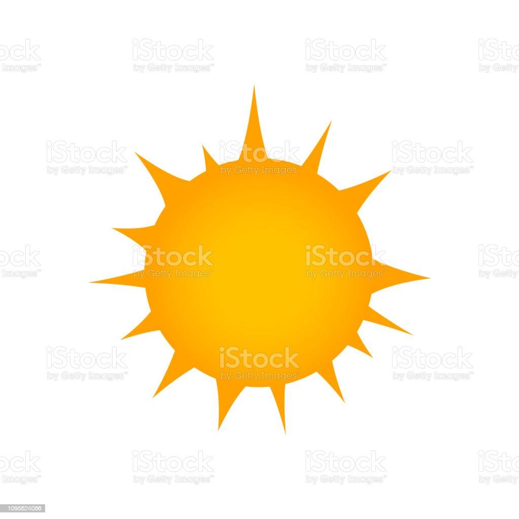 Flat sun Icon. Summer pictogram. Sunlight symbol. Rays. Vector...