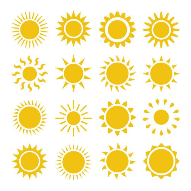 bildbanksillustrationer, clip art samt tecknat material och ikoner med flat sun-ikonen. - sun