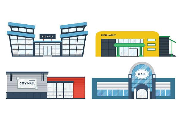 ilustrações, clipart, desenhos animados e ícones de tv supermercado edifícios situados - shopping