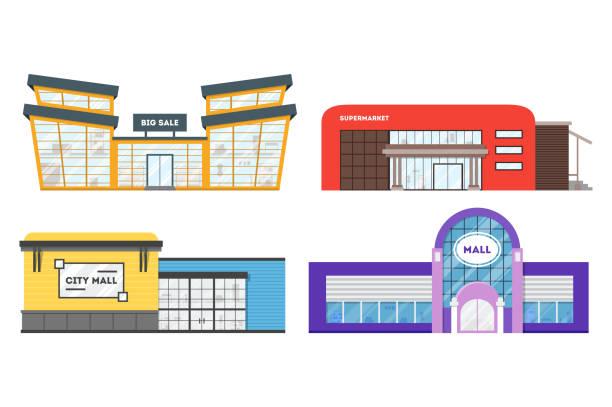 ilustrações, clipart, desenhos animados e ícones de supermercado plano. edifício do centro comercial. conjunto de armazenamento de cidade do desenho animado colorido - shopping