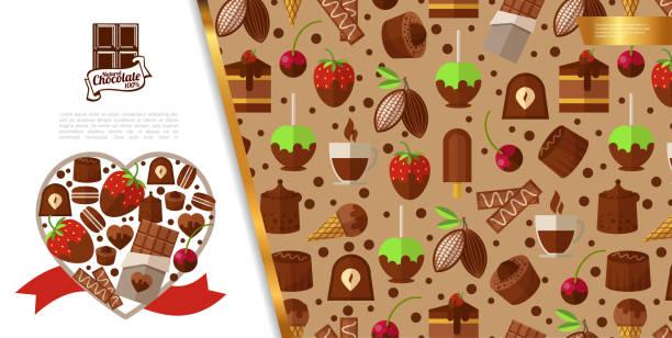 Flache süße Desserts Konzept – Vektorgrafik