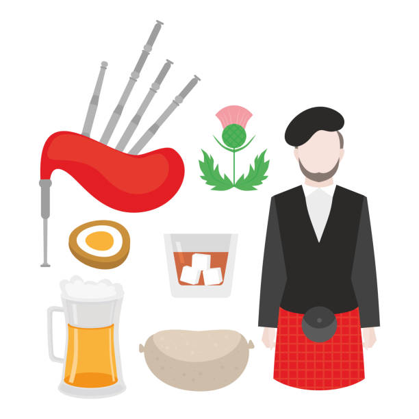 flat symbol of scotland, united kingdom. man bagpiper in national clothing, scottish musical instrument bagpipe and thistle sign. food traditional haggis, whiskey, beer and eggs. - haggis stock illustrations, clip art, cartoons, & icons