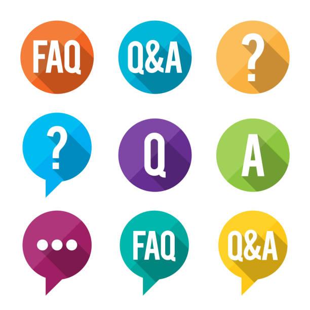ilustraciones, imágenes clip art, dibujos animados e iconos de stock de preguntas frecuentes plano de símbolos - faq