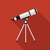 Flat telescope with long shadow. Vector illustration, icon. Modern design