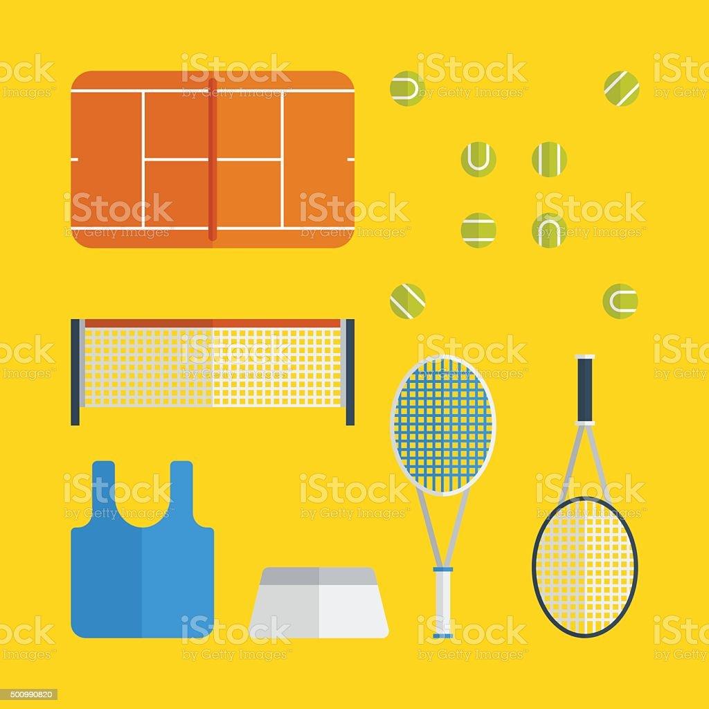 Flat tennis icons design vector art illustration