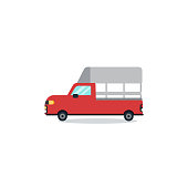 Flat Thai mini red truck cartoon design minimal with white background vector.Red truck flat design.Thai