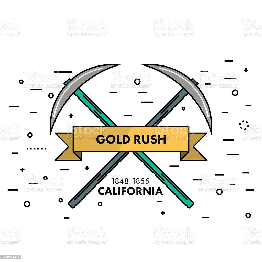 Flat Thin Line Gold Rush California Banner Or Logo Template Stock