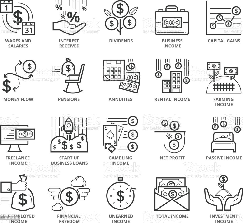 Flat thin line Icons set of Active Income and Passive Income vector art illustration