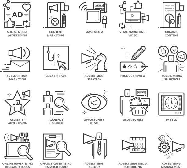 Flat thin line Icons set of Advertising and Communication vector art illustration